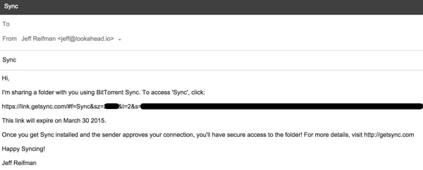 BitTorrent Sync Share via email