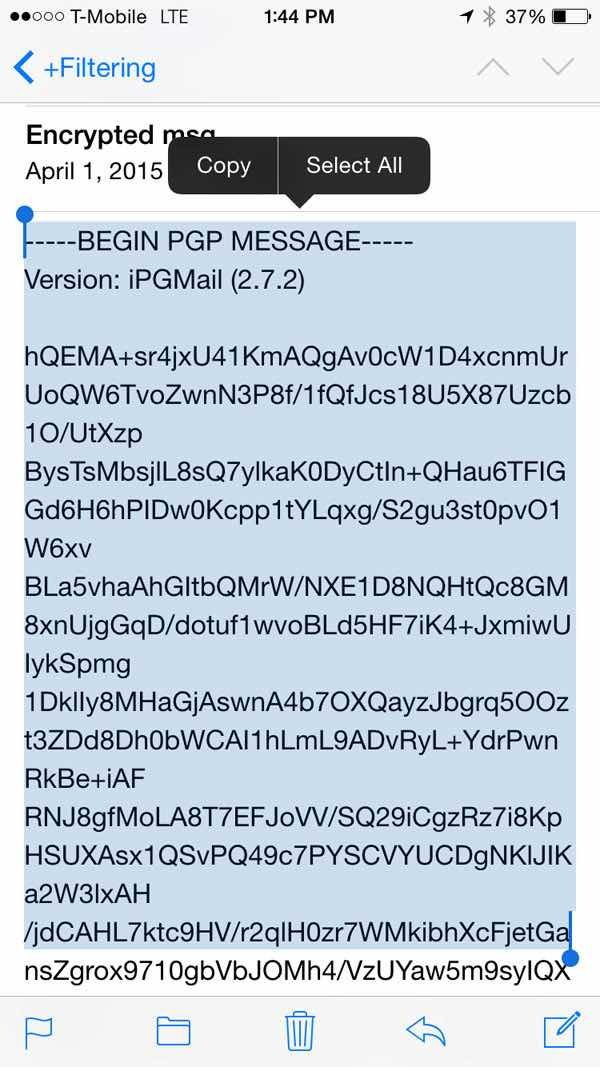 iPGMail  Copy and Paste an Encrypted Message