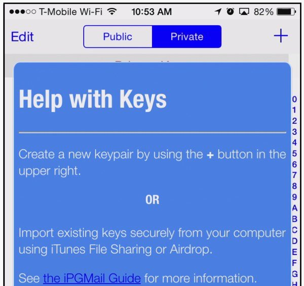 iPGMail Help with Keys