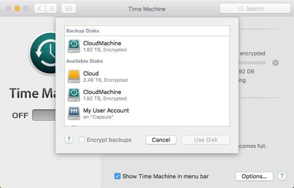 Sync Time Machine Drive Selection