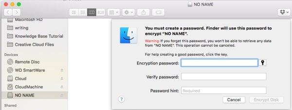 Sync Choose Password for Encrypted Drive