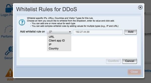 Incapsula Whitelist Rules for DDoS
