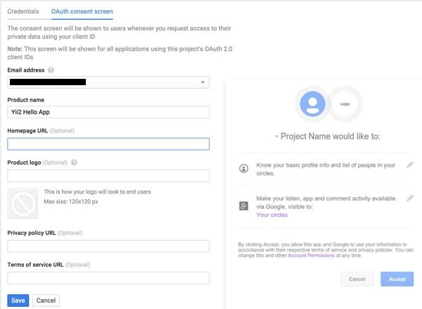 Programming Yii2 Google Developers Console OAuth Consent