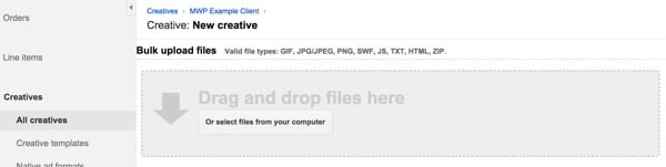 Google DFP Load Creatives via Drag and Drop