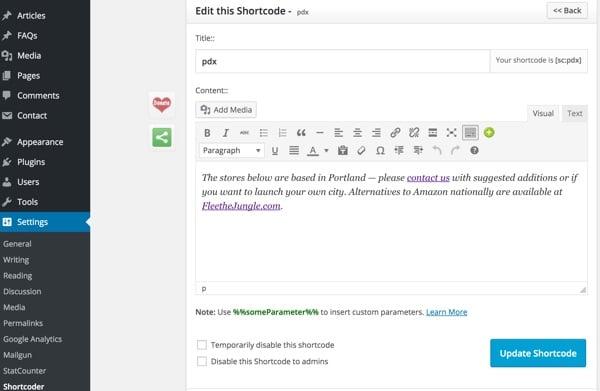 Flee the Jungle Shortcode editor