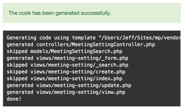 Customizing Meeting View - List of generated files by Gii
