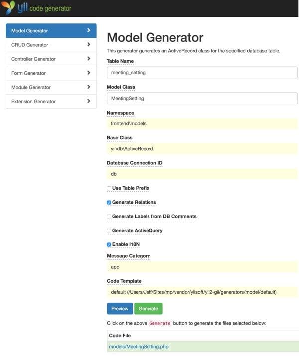 Customizing Meeting View - Yiis Gii Model Generator for Meeting Setting