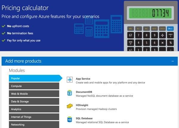 Amazon AWS Alternatives - Azure Pricing Calculator