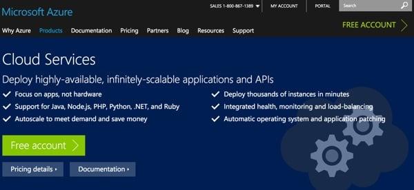 Amazon AWS Alternatives - Azure Home Page