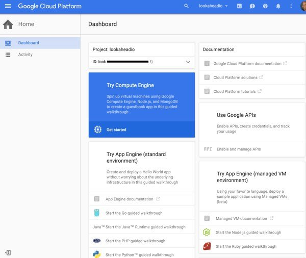 Amazon AWS Alternatives - Google Cloud Console