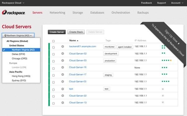 Amazon AWS Alternatives - RackSpace Management Console
