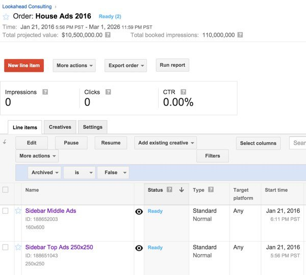 Google DFP House Ads - House Ad Status