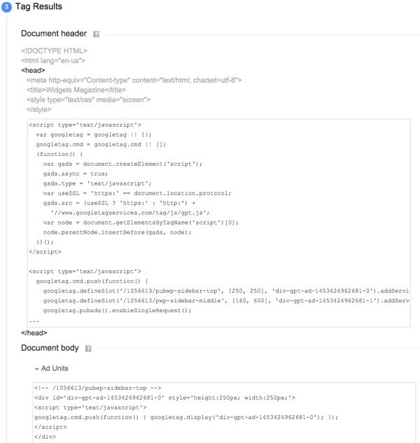 Google DFP House Ads - Tag Results HTML to Paste