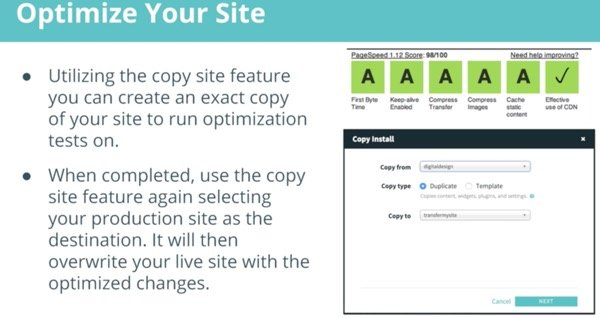 WP Engine Copy Site for Page Speed Optimization
