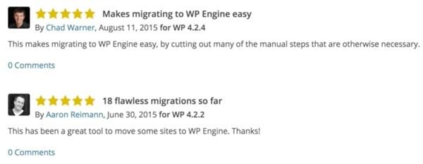 WP Engine Customer Praise for Site Migration