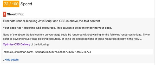 PageSpeed Failing you because you still have one CSS file
