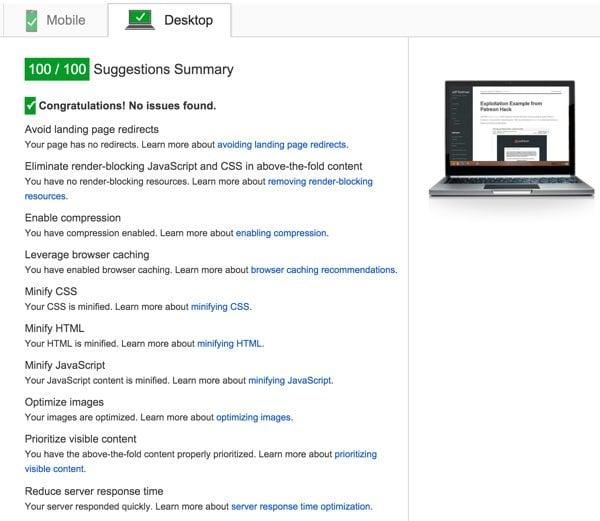 Desktop PageSpeed score 100