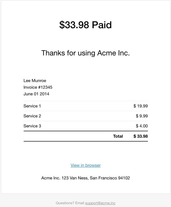 Exploring Mailgun - Example HTML Template of an Invoice