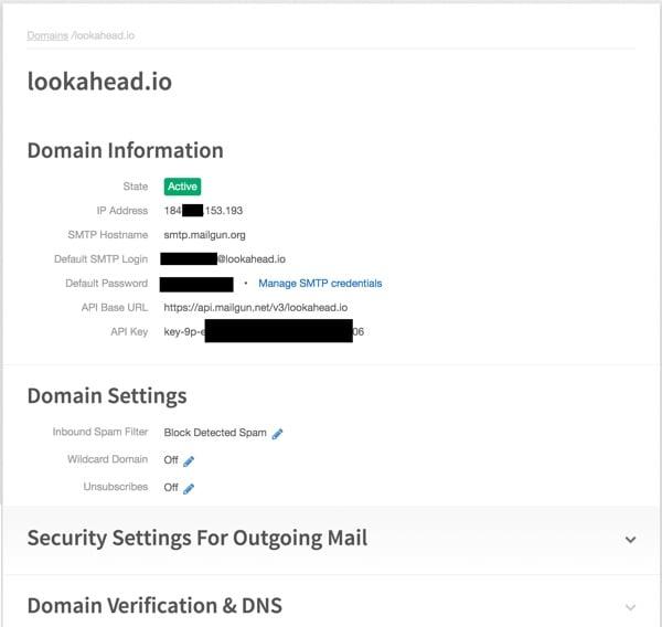 Exploring Mailgun - Domain Example in the Control Panel
