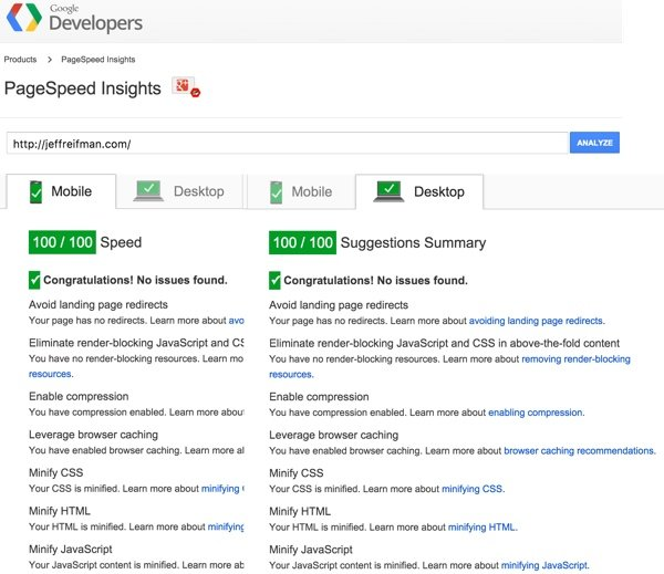 Google PageSpeed Module - Page Insights at 100 for Mobile and Desktop