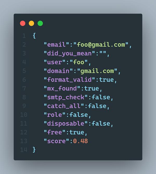 Sample JSON Response