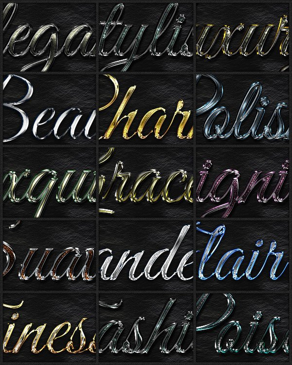Preview of the styles in the Elegant Text Styles pack