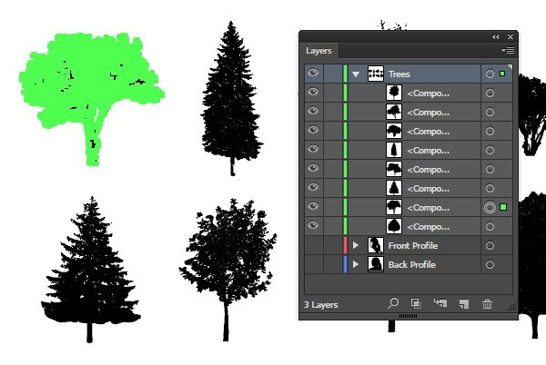Compound path each tree