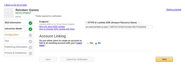 Configure Your Alexa Skill