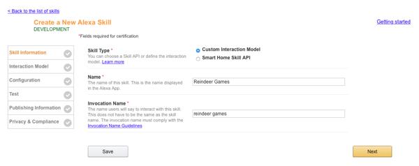 Create a New Alexa Skill Configuration Screen