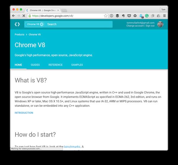 The landing page for Chrome V8 Googles JavaScript Engine