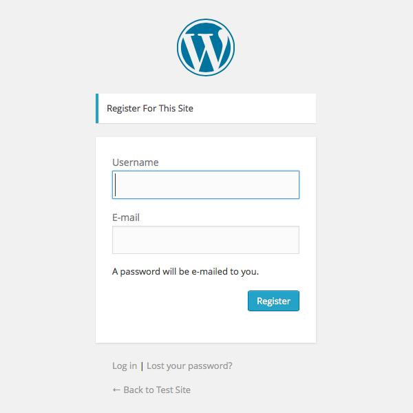 WordPress new user registration screen