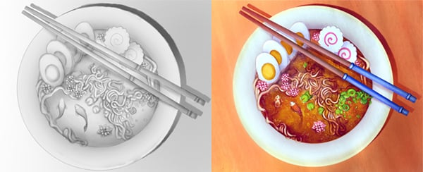 Study Ambient Occlusion for Your Grayscale Paintings Ramen Tutorial by Melody Nieves