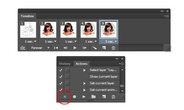 Hit Stop Button to Stop Recording Photoshop Action