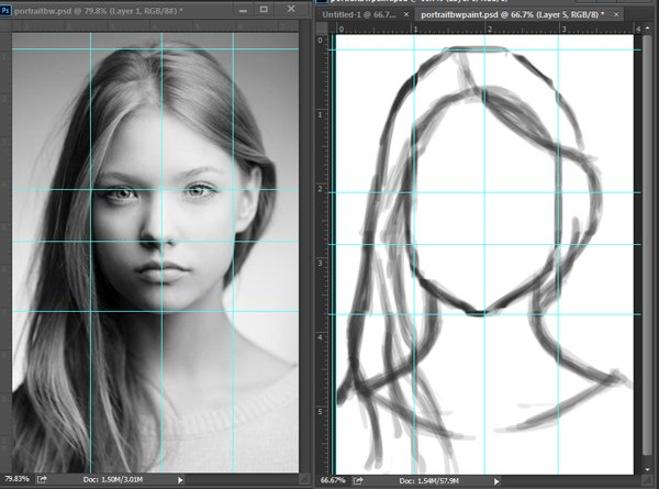 Digitally Sketching Faces in Adobe Photoshop
