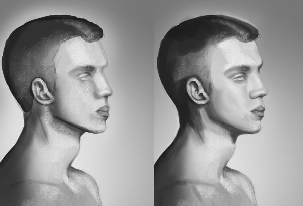 Digitally Painting Male Faces in Adobe Photoshop Tones and Light