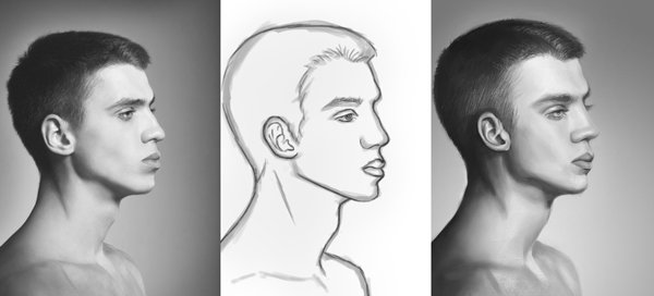 How to Digitally Paint Male Faces in Photoshop Tutorial