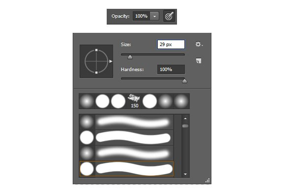 Brush Settings for Opacity Hardness and Size in Adobe Photoshop