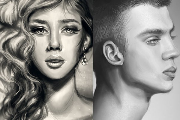 Black and White Digital Paintings in Adobe Photoshop