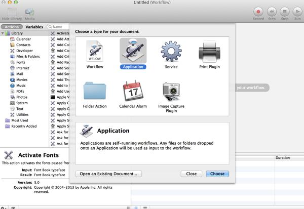 create a new automator application