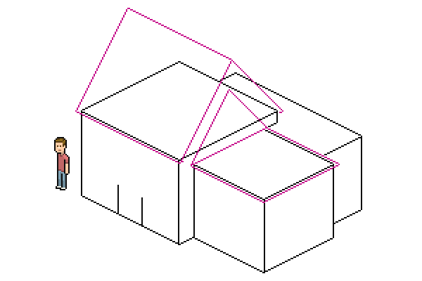adding diagonals to the smaller roof