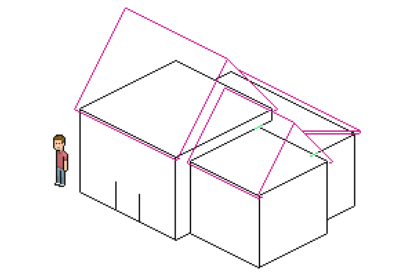finding intersection of lower roof and largest roof