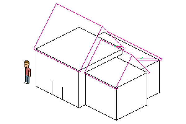 drawing intersection of lower roof and largest roof