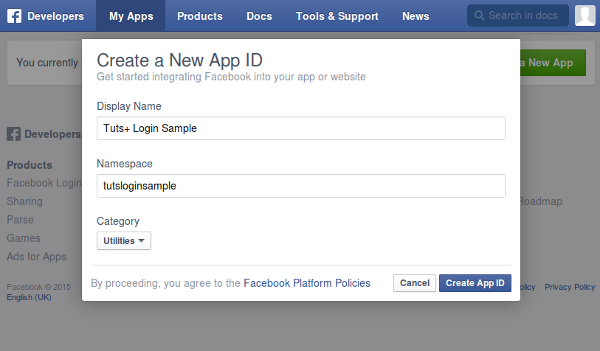 Form for creating a new app ID