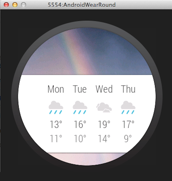 Example of an additional page on an Android Wear device