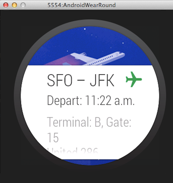 Example of a notification card on an Android Wear device