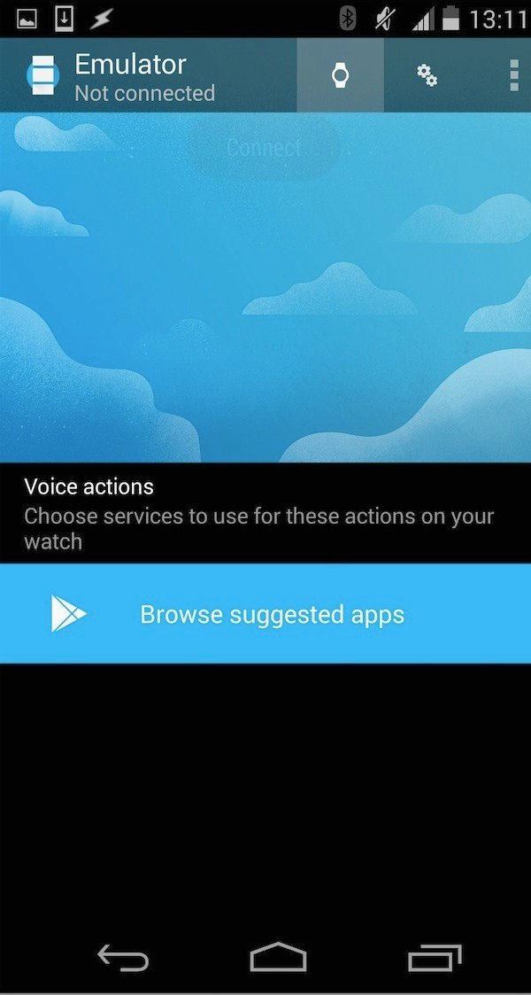 In the Android Wear companion app tap the watch icon in the toolbar