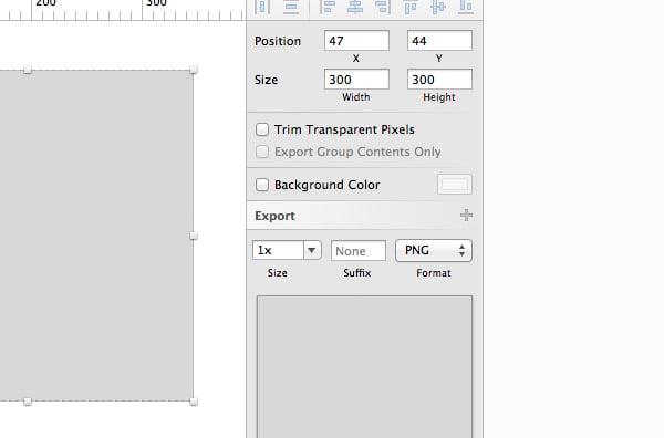 Export options - Inspector panel