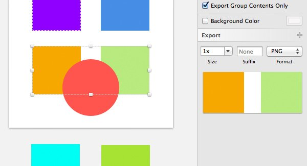 Export Group Contents Only option turned on