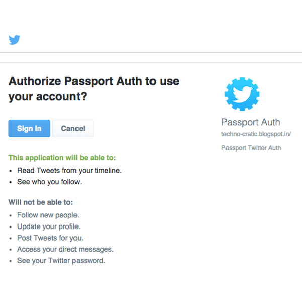 Twitter Auth - Grant Permissions