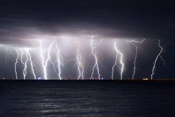 Lightinging over water